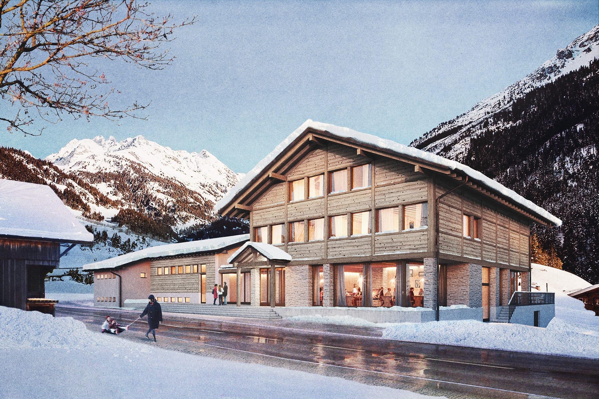 Das Projekt Gadmer Lodge in Frontansicht.